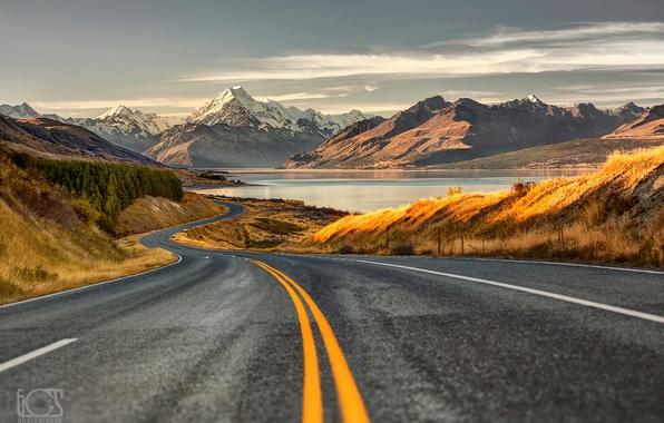 Картинка дорога, горы, Новая Зеландия, остров Южный, Южные Альпы