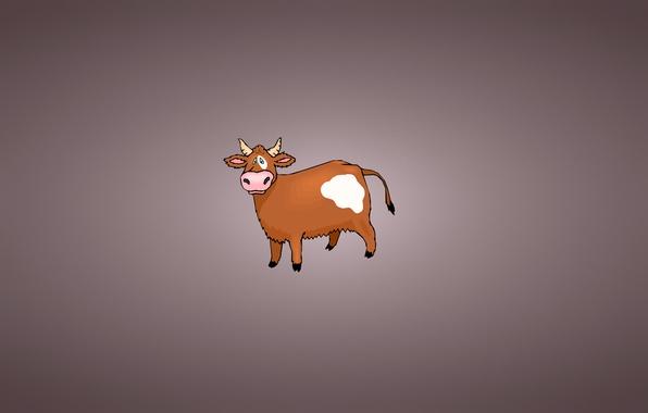 Картинка корова, минимализм, хвост, рога, пятно, cow, буренка
