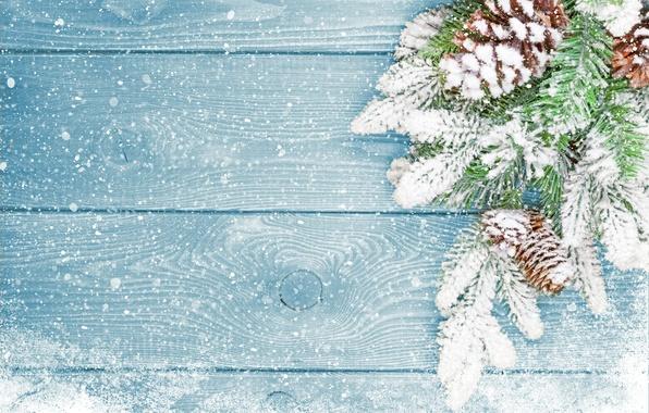 Картинка зима, снег, елка, Новый Год, Рождество, Christmas, шишки, wood, winter, snow, decoration, Merry