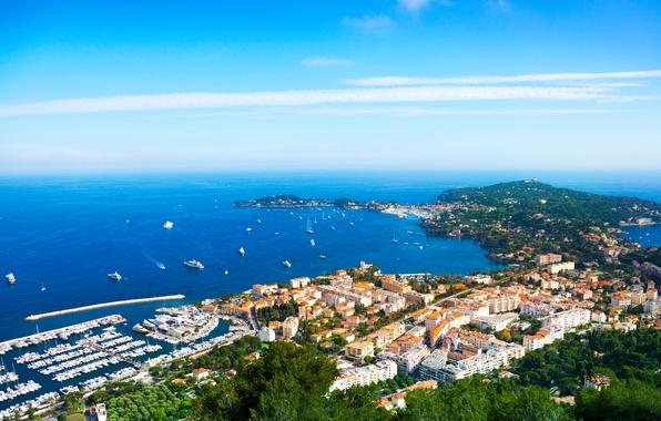 Картинка море, небо, побережье, Франция, дома, лодки, причал, горизонт, катера, вид сверху, Nice