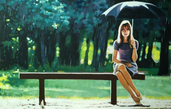 Картинка зелень, девушка, деревья, скамейка, парк, дождь, настроение, зонт, Thomas Saliot, Right as Rain