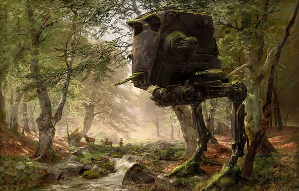 Картинка лес, деревья, star wars, robot, олени, art, AT-ST, Imperial AT-ST Scout Walker, AT-ST Walker