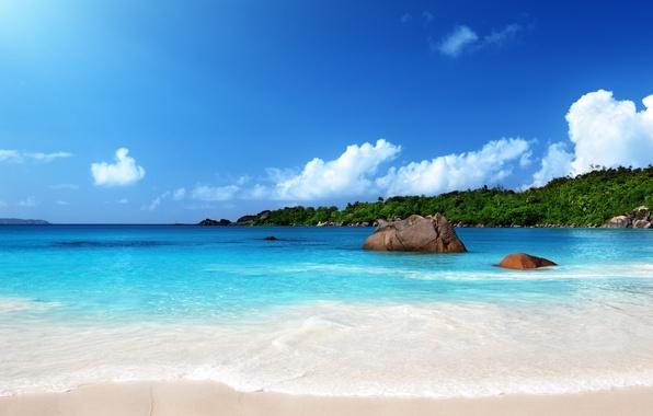 Картинка песок, море, пляж, солнце, тропики, берег, summer, sunshine, beach, sea, ocean, sand