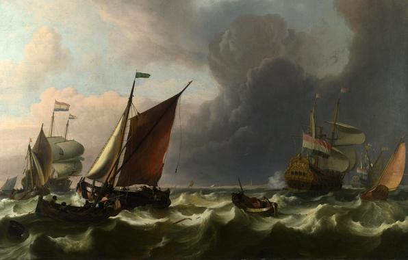 Картинка море, волны, пейзаж, шторм, лодка, корабль, парусник, буря, картина, парус