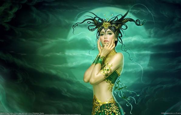 Картинка девушка, украшения, фентези, луна, арт, прическа, рога, yuehui tang