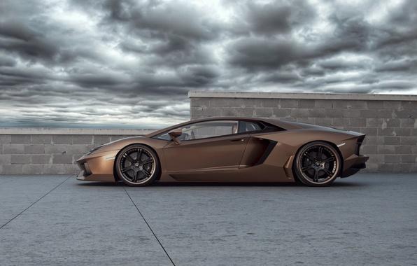 Картинка небо, Lamborghini, суперкар, tuning, Wheelsandmore, Ламборгини, Авентадор, Rabbioso, Anventador, вид сбоку.тюнинг
