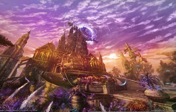 Картинка небо, облака, закат, цветы, city, город, магия, площадь, фэнтези, лестницы, fantasy, magic, sky, sunset, дворец, …