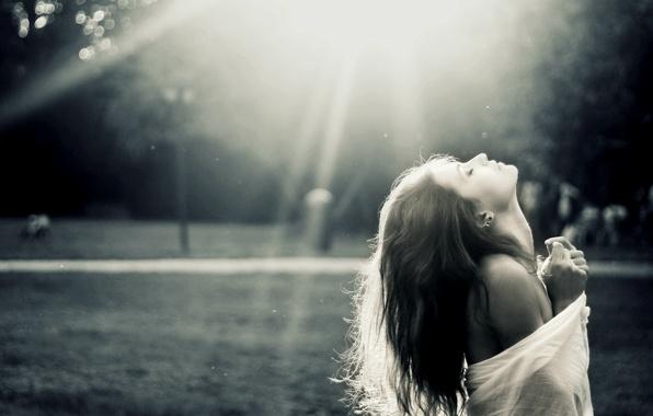 Фото обои черно-белое, девушка, профиль, волосы