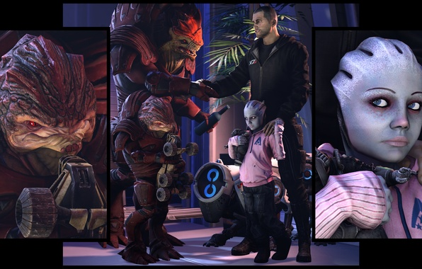 Картинка дети, mass effect, shepard, fan art, krogan, urdnot wrex, asari