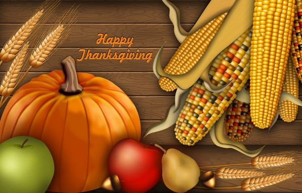 Картинка осень, коллаж, яблоки, кукуруза, урожай, тыква, открытка, день благодарения