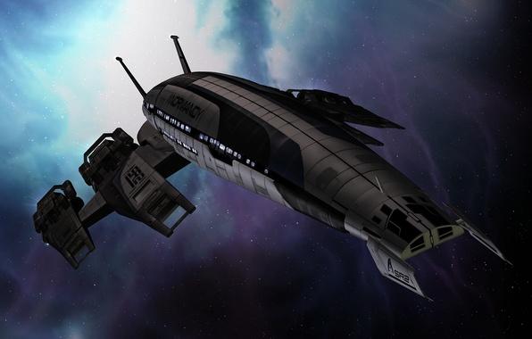 Картинка космос, корабль, space, нормандия, mass effect, normandy, масс эффект, sr-2