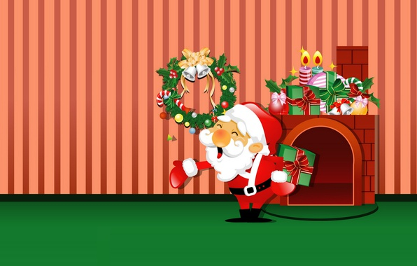 Картинка настроение, праздник, арт, подарки, Новый год, камин, Санта Клаус, детская