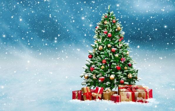Картинка зима, снег, шары, игрушки, елка, Новый Год, Рождество, подарки, Christmas, winter, snow, decoration, Merry