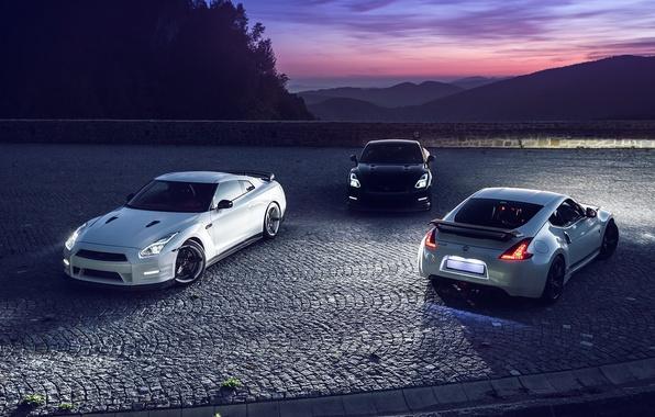 Картинка GTR, Moon, Nissan, Sky, Front, Black, Mountain, Lights, White, R35, 370Z, Rear, Nigth