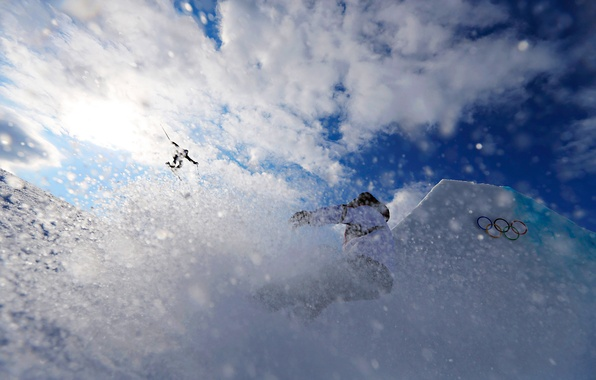 Картинка небо, солнце, снег, ice, sky, snow, sun, тренировка, сочи, ski, 2014, training, Sochi, slopestyle, слоупстайл