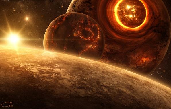 Картинка трещины, звезда, планеты, катастрофа, арт, разрушение, лава, сфера, QAuZ