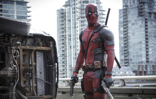 Картинка City, Action, Ryan Reynolds, Red, Car, Assassin, Black, with, and, Wallpaper, Deadpool, Year, MARVEL, Weapons, …
