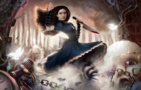 Картинка лес, бабочки, движение, кровь, часы, механизм, кукла, перья, Алиса, нож, цепи, Alice Madness Returns