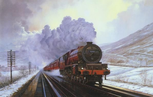 Картинка зима, снег, пейзаж, горы, дым, поезд, паровоз, картина, вагон, холст