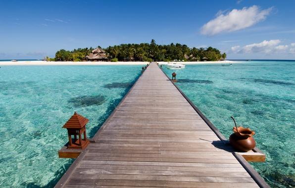 Картинка пляж, небо, вода, пейзаж, мост, природа, пальмы, океан, берег, остров, лодки, beach, sky, ocean, landscape, …
