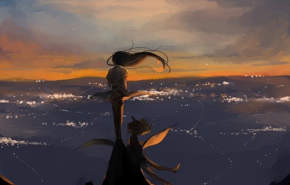 девушка и ветер в волосах