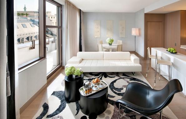 Картинка белый, цветы, дизайн, город, стиль, комната, диван, вид, стулья, интерьер, светлый, кресло, завтрак, окно, черное, …
