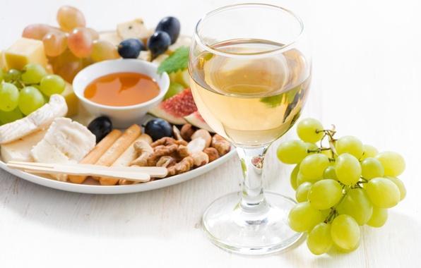 Картинка вино, бокал, сыр, мед, виноград, орехи, инжир