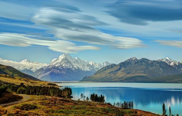 Картинка Небо, Облака, Горы, Озеро, Пейзаж, island, Новая, pukaki south, Зеландия