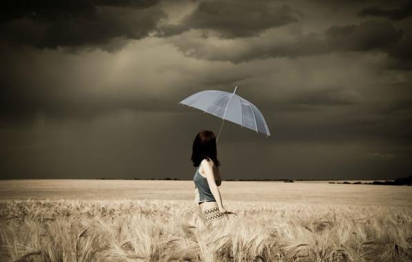 Картинка гроза, поле, Девушка, зонт