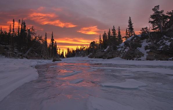Картинка зима, лес, закат, природа, река, лёд