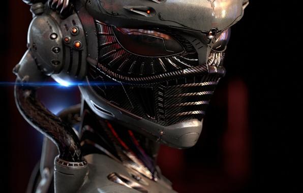 Картинка человек, маска, костюм, art, Cybernetic Organism, Sengjoon