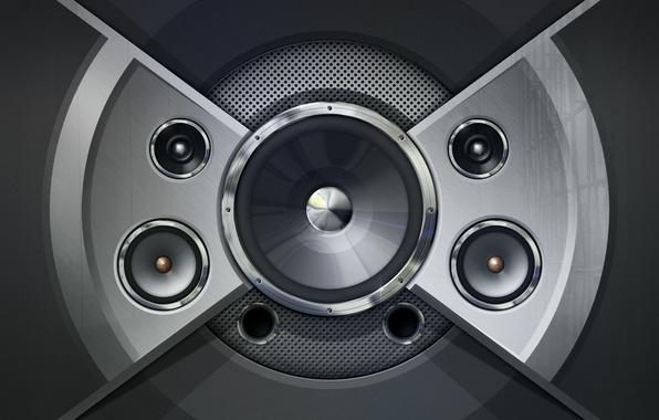 Картинка музыка, ч/б, колонки, акустика