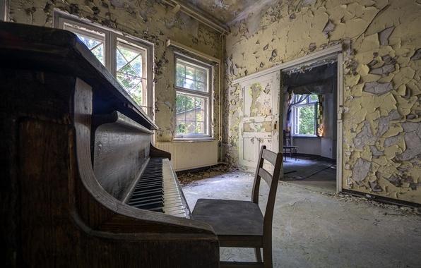 Картинка фон, окно, стул, пианино