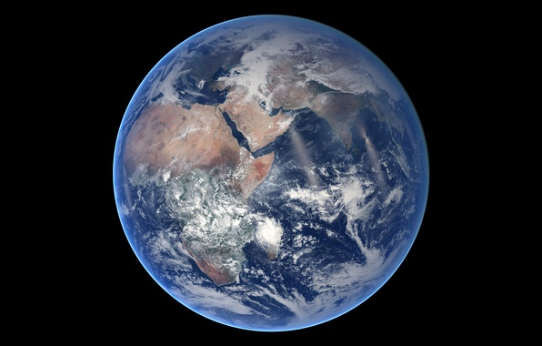 Картинка космос, планета, Земля, материки, океаны