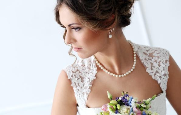 Картинка глаза, цветы, лицо, женщина, букет, Девушки, невесты