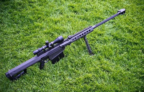 Картинка трава, винтовка, снайперская, самозарядная, крупнокалиберная, Barrett M82