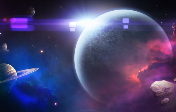 Картинка космос, планеты, арт, space, star, art, planets