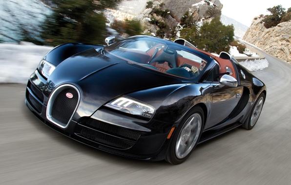 Картинка Roadster, Дорога, Машина, Бугатти, Bugatti, Вейрон, Движение, Машины, Veyron, Чёрный, Car, Автомобиль, Cars, Black, Автомобили, …