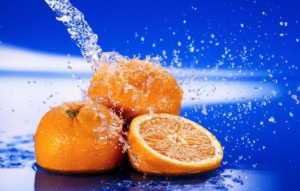 Картинка вода, капли, макро, брызги, свежесть, апельсины, цитрус