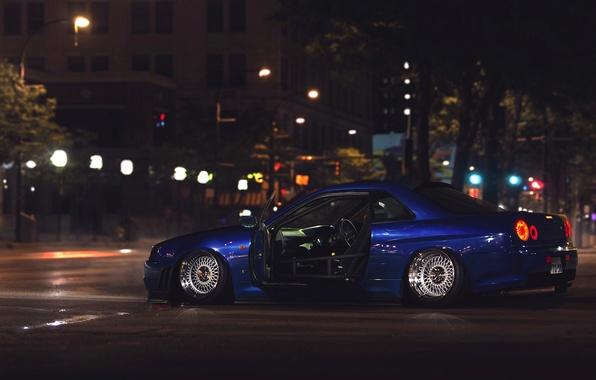 Картинка GTR, City, Nissan, Car, Street, Skyline, R34, Stance, Low, Rear, Nigth