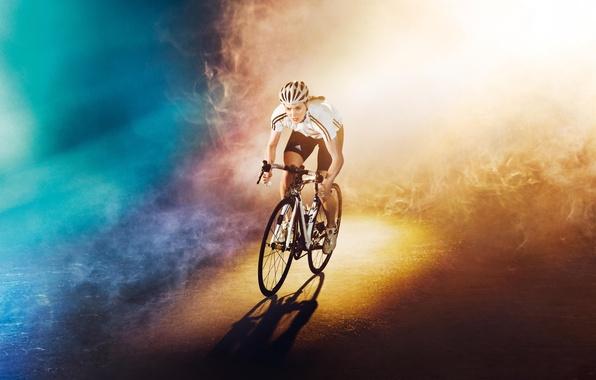 Картинка дорога, девушка, свет, велосипед, фон, цвет, олимпиада