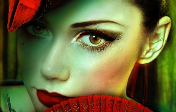 Картинка взгляд, девушка, ресницы, волосы, шляпа, макияж, веер, арт, карие глаза, красные губы
