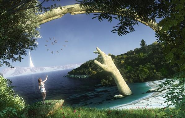 Картинка песок, море, девушка, снег, деревья, пейзаж, цветы, горы, птицы, старина, трещины, озеро, фантастика, рука, арт, …