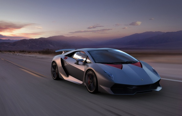 Картинка Горы, Lamborghini, Скорость, Пейзаж, Суперкар, Supercar, Elemento, Sesto