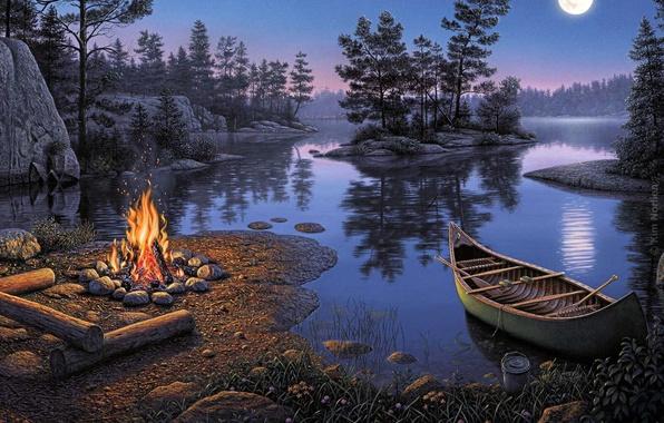 Картинка ночь, отражение, река, отдых, луна, романтика, лодка, картина, Kim Norlien, туризм, островок, костёр