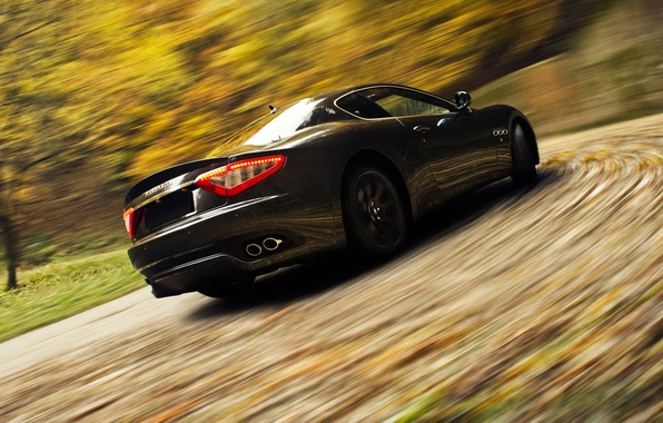 Картинка дорога, Maserati, скорость, размытость, спорткар, GranTurismo
