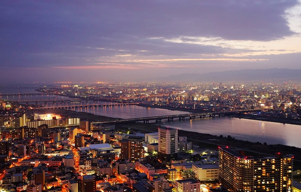 Картинка Japan, twilight, sunset, bridges, dusk, Osaka