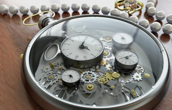 Картинка стекло, время, стрелки, часы, цифры, шестеренки, украшение, циферблат, рендер