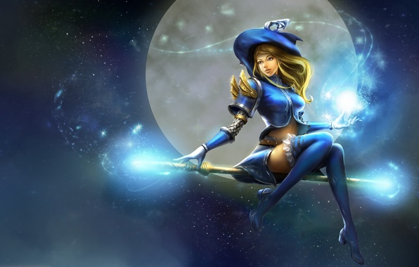 Картинка небо, девушка, полет, улыбка, магия, луна, шляпа, аниме, арт, посох, ведьма