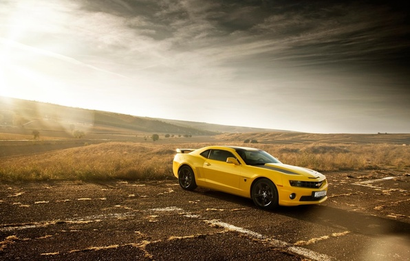 Картинка Chevrolet, Muscle, Camaro, Car, Sun, Yellow, Bumblebee, Edition
